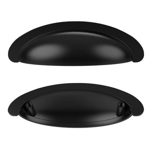 "3"" Black Cabinet Handles - Cup Drawer Pulls"