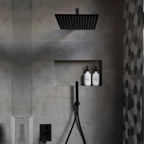 12'' Square Rain Shower Head (Matte Black)