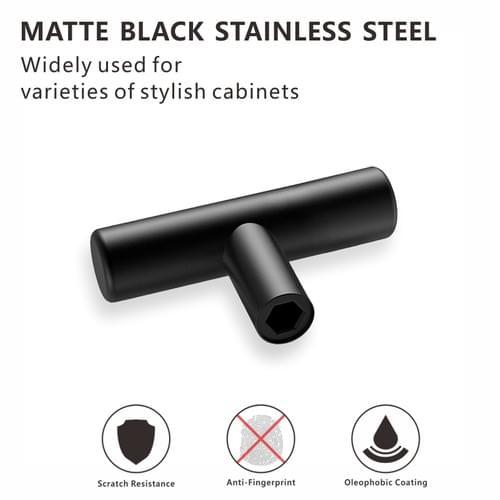 Black Cabinet Knobs - 2 Inch Length Single Hole T Bar