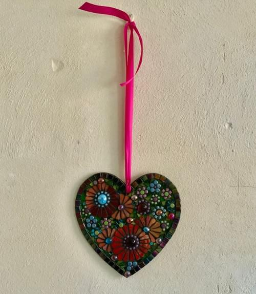 Pearlescent Orange and Turquoise Mosaic Heart 20cm
