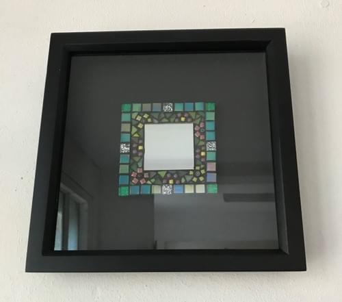 Turquoise Floral Box Mirror (20cms)