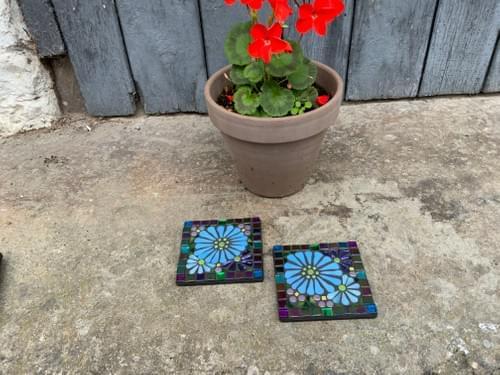 Single Coaster Floral Carpet Dream Blue