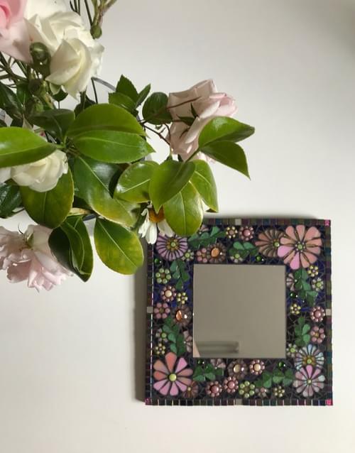 Cherry Blossom Floral Mosaic Mirror