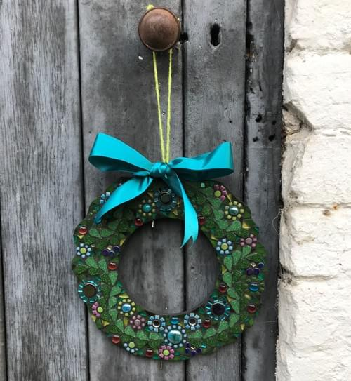 Turquoise Floral Mosaic Wreath (25cms)