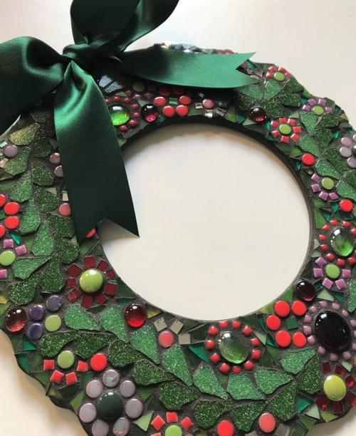 Red Floral Mosaic Wreath (25cms)