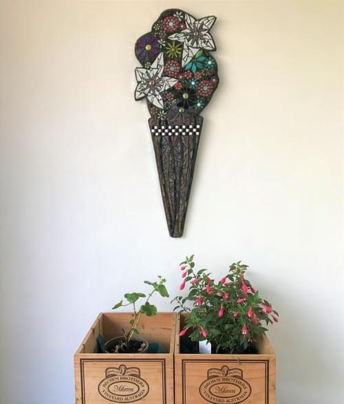 Tall Lily Vase Mosaic Wall Art