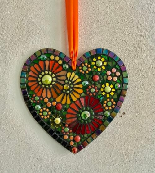 Hot Orange and Red Mosaic Heart 20cm