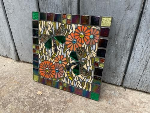 Copper Dragonfly Mosaic Wall Panel