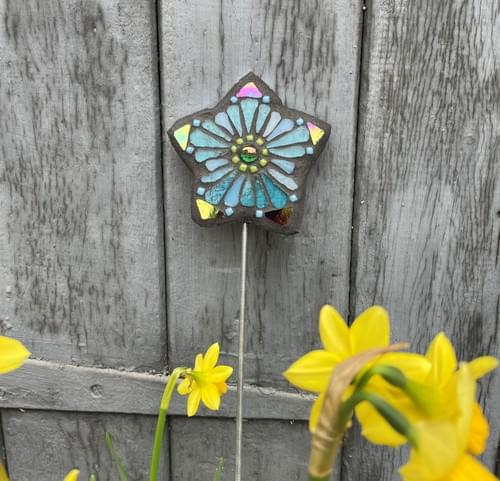 Starry Flower Garden Stake (50 cms) Teal Blue