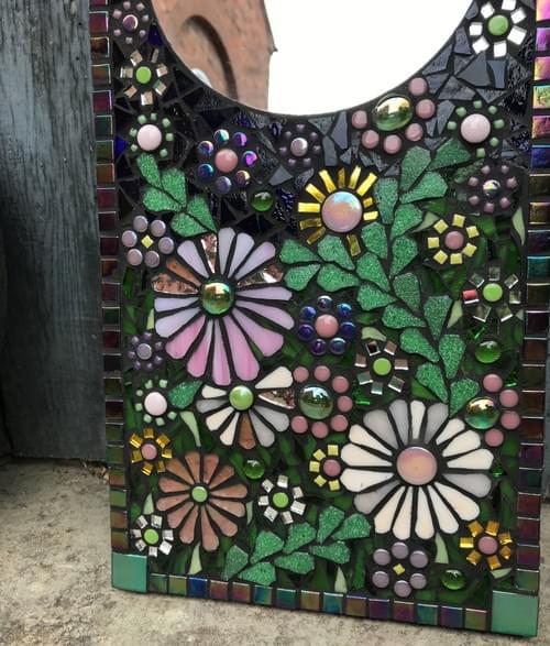 Iridescent Pink Aster Mosaic Mirror