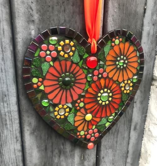 Orange Floral Heart 20cms