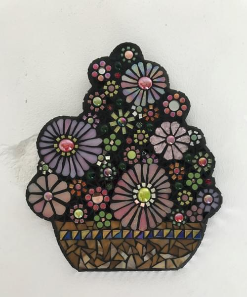 Mosaic Pink Posy Floral Bouquet Wall Panel