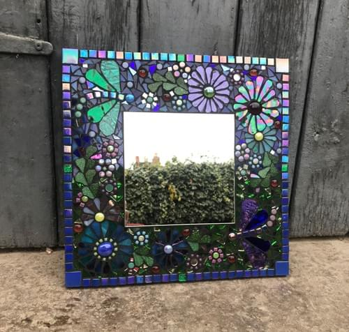 Purple Green Dragonflies Mosaic 30cms
