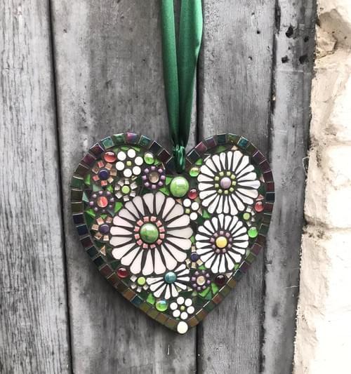 White Hellebore Mosaic Heart