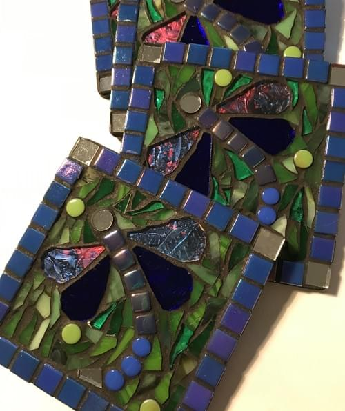 Set of 4 Mosaic Coasters - Van Gogh Glass and Blue Dragonflies