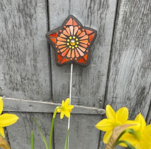 Starry Flower Garden Stake (50 cms) Tangerine
