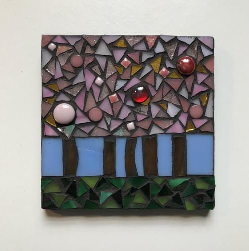 10 cm The Light Beyond Mosaic Panel Cherry Trees