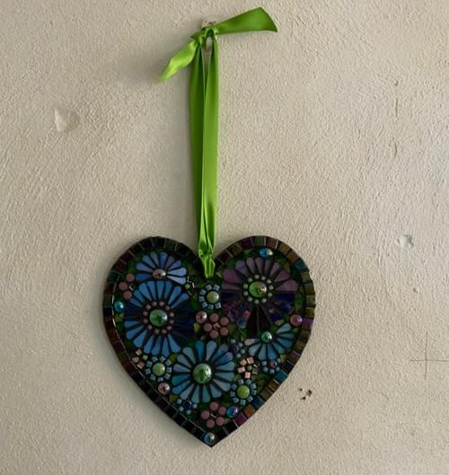 Pearlescent Blue and Pinks Mosaic Heart 20cm