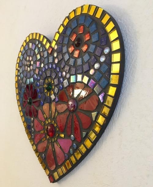 Red Blue Aster Mosaic Heart 25cms