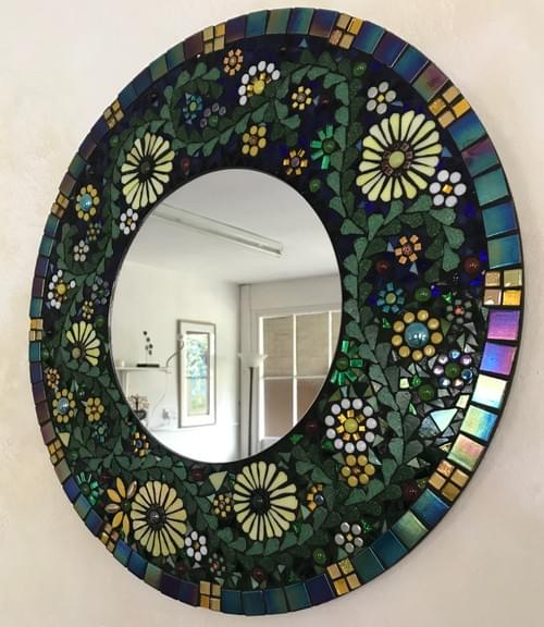 Yellow Aster Mosaic Mirror 50 cms