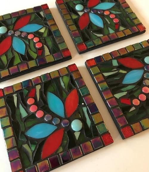 Mosaic Coasters Red & Parrotfish Dragonflies