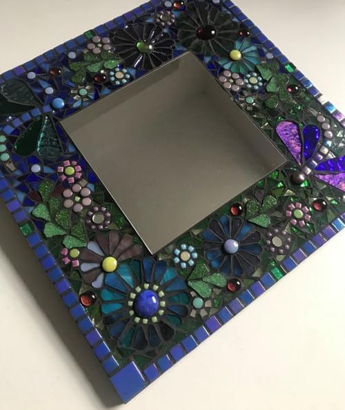 Purple Green Dragonflies Mosaic 30cms