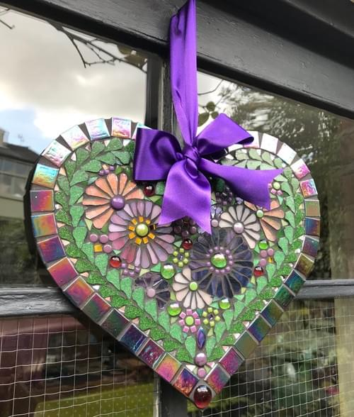 Purple Cosmos Mosaic Heart 30cms