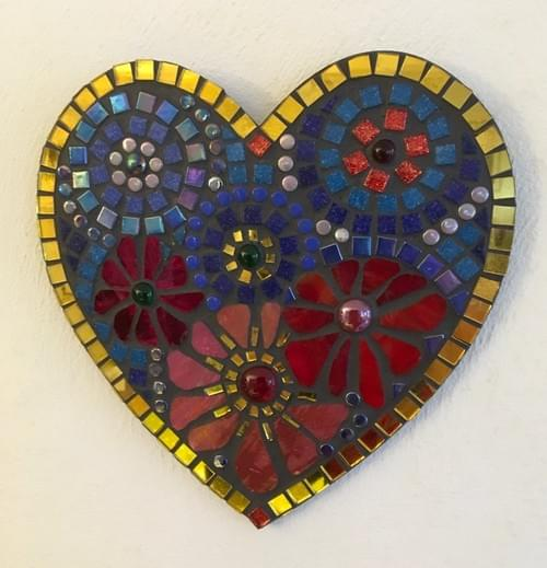 Red Blue Aster Mosaic Heart 25cms