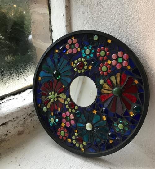 20cms Round Floral Mirror