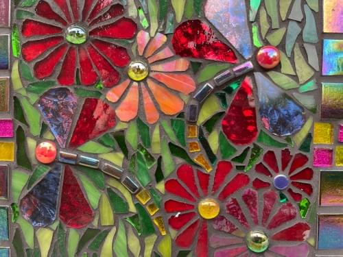 Red Dragonfly Mosaic Wall Panel