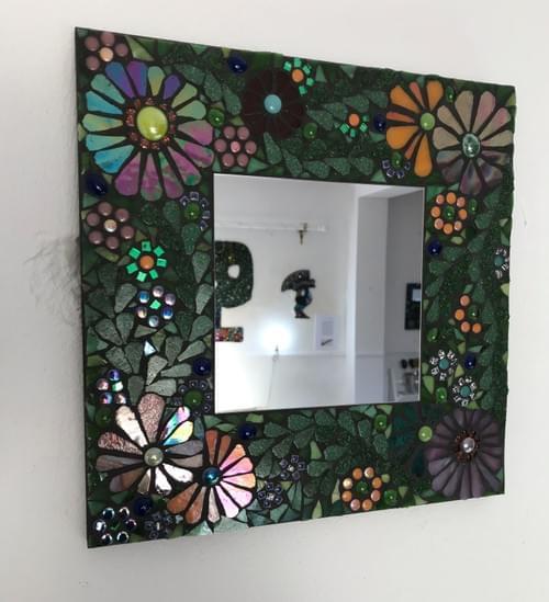 Botanical Floral Mosaic Mirror