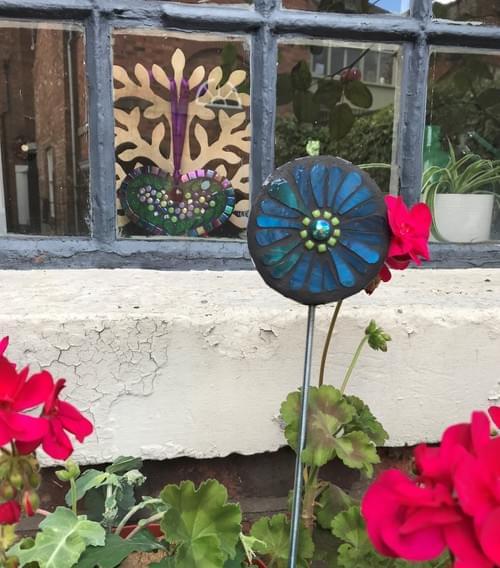 Orbital Garden Stake (50cms) Teal Blue