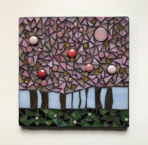 15 cm The Light Beyond Mosaic Panel  Cherry Trees