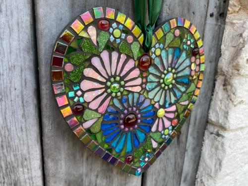 Turquoise and Soft Pink Cosmos Mosaic Heart 20cm