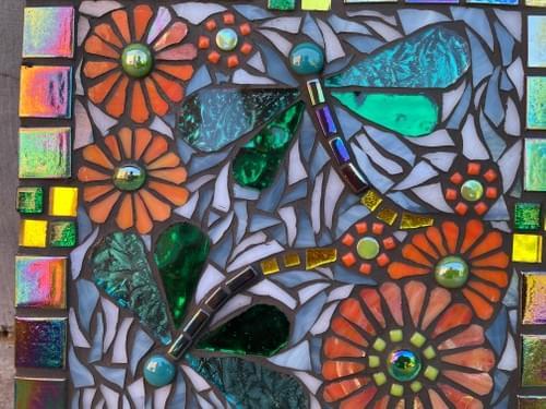 Viridian Green Dragonfly Mosaic Wall Panel