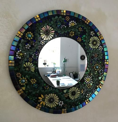 Yellow Aster Mosaic Mirror 50cms