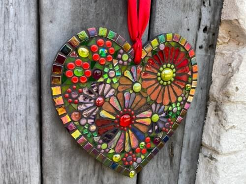 Iridescent Red and Orange Cosmos Mosaic Heart 20cm