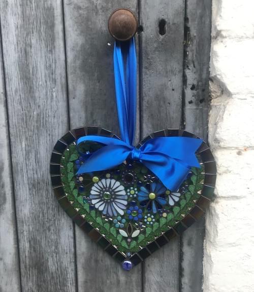 Blue Aster Heart 30cms