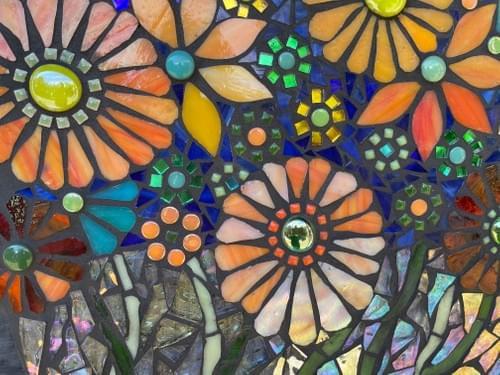 Orange Cosmos Mosaic Floral Bouquet