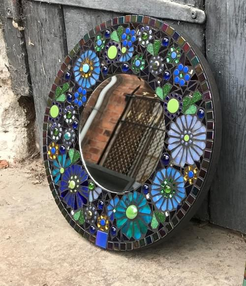 Iridescent Blue Aster Mosaic Mirror 30 cms