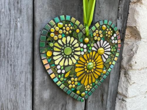 Pale Yellow Cosmos Mosaic Heart 20cm