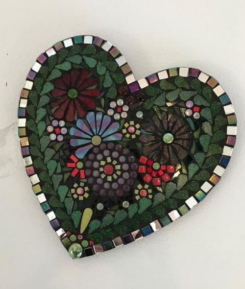 25cms Red Purple Silver Heart