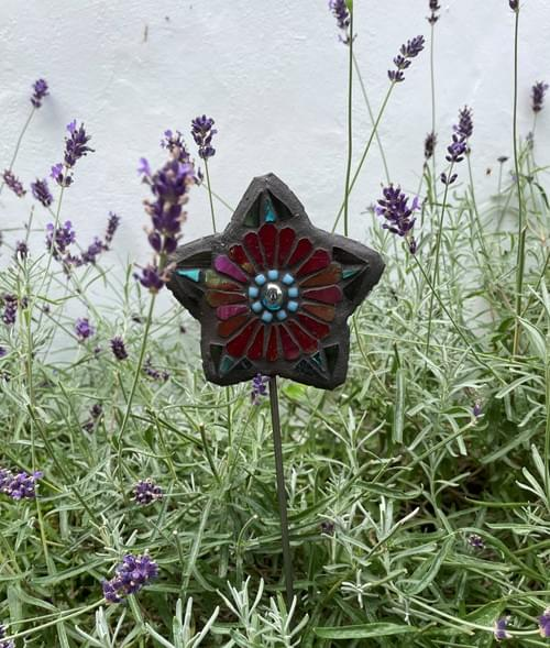 Starry Flower Garden Stake (50 cms) Red Lacquer and Turquoise