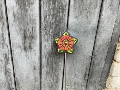 Starry Flower Garden Stake (50 cms) Rich Orange