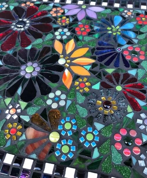 Upcycled Mosaic Floral Table