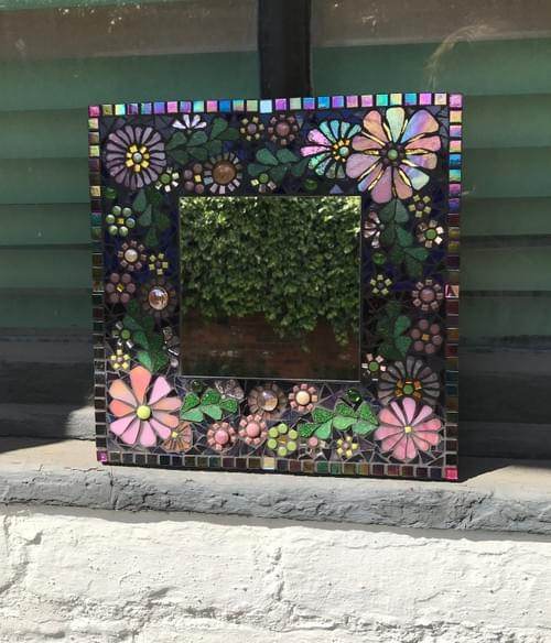 Cherry Blossom Floral Mosaic Mirror