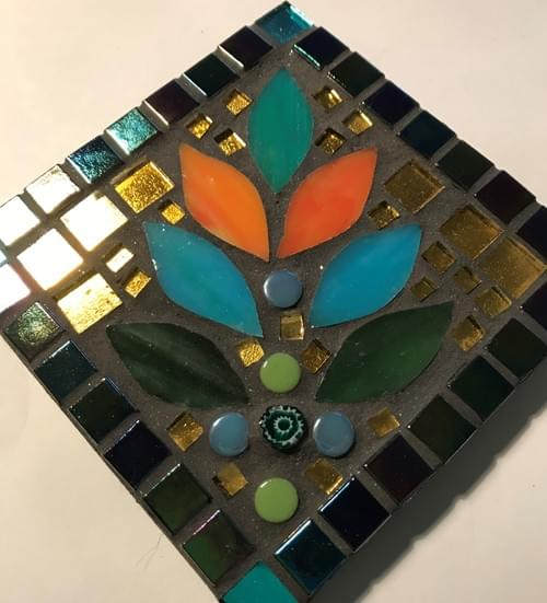 Set of 4 Mosaic Coasters - Parrotfish and Nectar Lotus Flowers