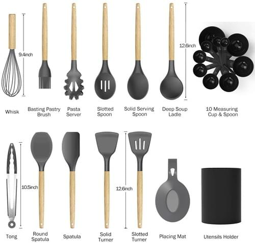 Kitchen Utensil Sets, 23Pcs Silicone Cooking Utensils Set with Holder for Nonstick Cookware