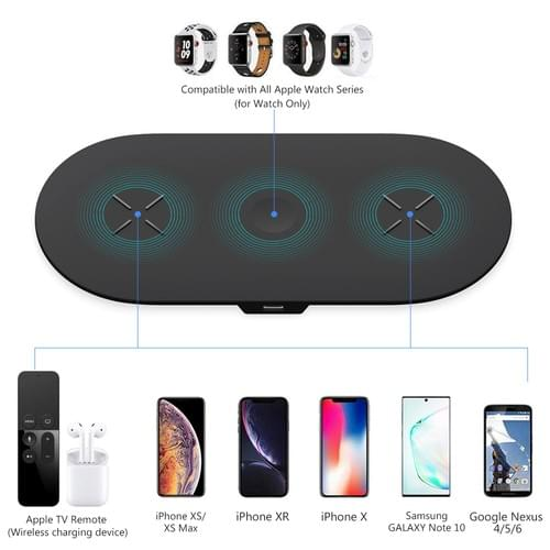Wireless Charging Pad, 3 in 1 Wireless Charger Mat Station Dock Stand for Apple Watch Series 5/4/3/2