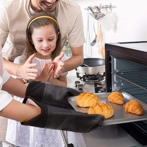 Oven Gloves, Heat Resistant Silicone Oven Mitts Non Slip Waterproof Long Kitchen Gloves